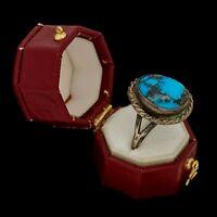 Antique Vintage Sterling Coin Silver Native Navajo Basalt Turquoise Ring Sz 7.25