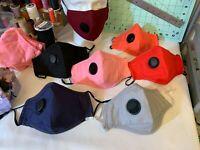 Handmade Vented Face Mask Respirator with 2x HEPA Filters, Valve & Nose Bridge.