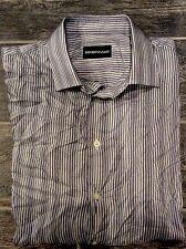 Men's Emporio Armani Dress Shirt Light Material Grey White Color Size M EUC
