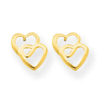 14K Yellow Gold Double Heart Stud Earrings Push Back Madi K Children's Jewelry