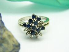 Vintage Diamant Saphir Ring 585 Gold 14kt Weißgold Gr. 57 Damenring