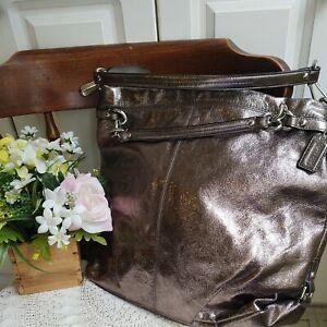 EUC Coach Brooke Hobo Metallic Bronze Leather Shoulder Handbag Large