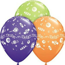 "HALLOWEEN PARTY SUPPLIES BALLOONS 10 x 11"" QUALATEX TRICK & TREAT LATEX BALLOONS"