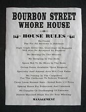 """(076) OLD WEST BROTHEL RULES BOURBON STREET WHORES NEW ORLEANS POSTER 11""""x14"""""""