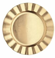 Kitchen Craft Let It Snow Lacquer Ribbed Charger Plate, Gold - charger plate