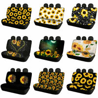 Women's Sunflowers Car Rear Seat Covers Auto Accessory Protector Covers 2pcs Set