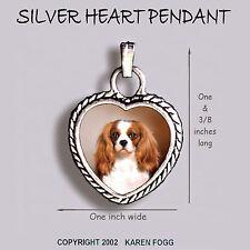 Cavalier King Charles Spaniel Fawn - Ornate Heart Pendant Tibetan Silver