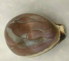 """Sea Shell 3"""" Carved Etched Natural Soaring Birds Figurine"""