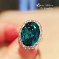 18K White Gold GF Made With Swarovski Crystal Oval Cut Luxury Large Teal Ring