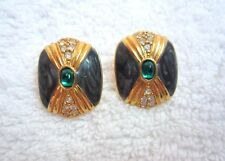 KJL Kenneth Lane Enamel Pave Crystal Earrings Green Cabochon Gold Avon Mint