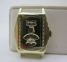 JUMP HOUR BULOVA MENS DECO 14K SOLID GOLD WRISTWATCH RARE NEVER SEEN IN GOLD