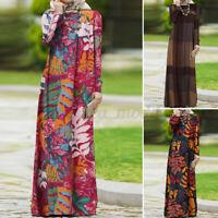 UK Womens Vintage Long Sleeve Casual Loose Abaya Muslim Kaftan Baggy Maxi Dress