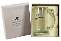 (Groom) - Heavy Glass Wedding Party Tankard in Gift Box; Wedding Favour Gift