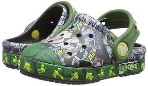 Baby Crocs Ninja Bump It TMNT Clog Sandal 202686 Black Seaweed 100% Original New