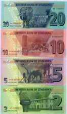 LOT SET SERIE 4 BILLETS Zimbabwe 2 / 5 / 10 20 DOLLARS 2020 NEW NOUVEAU NEUF UNC