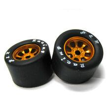 H&R Racing HR1116 Nascar Rear Gold Wide Wheel w/ Silicone Tire (2) 1:24 Slot Car