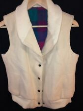 Vtg 70's Woolrich Women's REVERSIBLE Wool Vest Jacket Ivory/Plaid Made in USA S