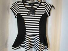NWT BCX Black and White Striped Short Sleeve Sz X-Small Org $39.00