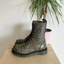 DR MARTENS 2B34 KHAKI BROWN LEATHER LACE UP BOOTS 5 38 CHUNKY VTG 10 HOLE GRUNGE