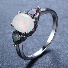 vintage White Fire Opal Rainbow Topaz 925 Silver Gemstone Ring Size 6 7 8 9 10