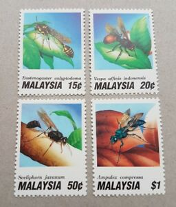 1991 Malaysia Insects 1st Series Bees Wasps 4v Stamps Fresh Mint Not Hinged