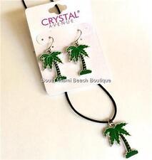 Silver Coconut Palm Tree Pendant Necklace Earrings Set Enamel Black Cord USA