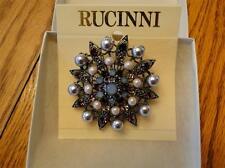 & High Quality Crystal Nib Rucinni Brooch W/Faux Pearls