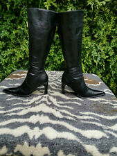 Vintage Cinderella black leather high heeled knee high boots UK size 5 EU 38