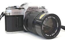 CANON AE-1 SLR Film Camera W/ CANON 135mm f/3.5 FD Mount Lens  - G23