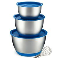 Stainless Steel Mixing Bowls With Lids [3 Piece] Non-Slip Nesting Bowl Set