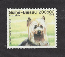 Dog Art Head Portrait Postage Stamp Yorkshire / Silky Terrier Guinea Bissau Mnh