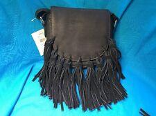 New Claire's Black Faux Soft Leather Tassel Saddlebag Purse Snap Closure