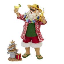 Happy Hour Beach Santa with Drinks and Tree Fabriche Christmas Figurine Set