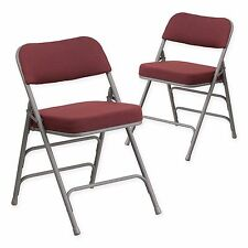 Set of 2 Burgundy Hercules Sturdy Steel Frame Padded Stacking Folding Chairs New