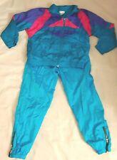 Vintage 1990s Jacket Pants Turquoise Color Block Track Suit Zip Ankle Md/Lrg