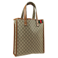 GUCCI GG Shelly Line Hand Tote Bag Brown PVC Leather Vintage M15165