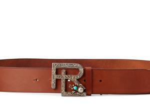 Ralph Lauren Collection Vachetta Leather RL Motif Silver Buckle Turquoise Belt
