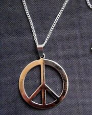 Peace Sign Symbol Pendant 40mm Silver Tone Metal Necklace 24 inch chain