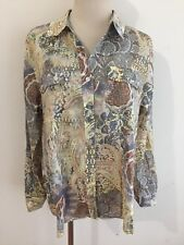 CHICO'S Button-Front Shirt Blouse Semi-Sheer Yellow Brown Orange Sz 1 NWOT!