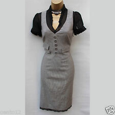 Karen Millen Grey Black Silk Lace Trim Dogtooth Cotton Wool Fitted Dress UK 10