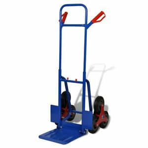 vidaXL Carretilla de Carga 200 kg  6 Ruedas Azul Carrito de Trabajo Transporte