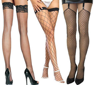 Ladies Sexy Black Thigh High Lace Fishnet Fencenet Net Stockings & Hold ups