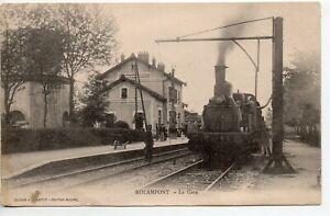 ROLAMPONT Haute Marne CPA 52 la gare les quais train locomotive GROS PLI CENTRAL