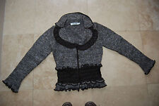 New Brown SOPHYLINE Paris Zip Front Sweater w/Satiny Trim & Gathering M / L