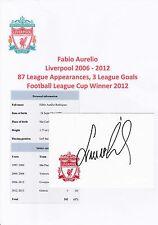 FABIO AURELIO LIVERPOOL 2006-2012 ORIGINAL HAND SIGNED CRESTED CARD