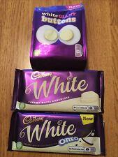 Cadbury Creamy White Chocolate Bar, Oreo Bar And Buttons