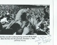 "Jim Lonborg of The Boston Red Sox Signed and Inscribed 81/2 "" x 11"" B & W Photo"