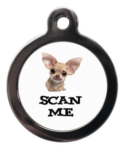 Pet ID tag SCAN ME CARTOON CHIHUAHUA Picture Tag 2 sizes