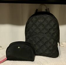 """Authentic Kate Spade Large Quilted Black Backpack """"Karissa"""" & Make Up Pouch."""