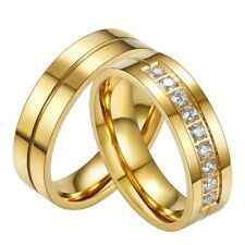 Couple Stainless Steel Gold Rhinestone Crystal Ring Men Women Wedding Band Rings
